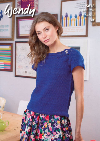 Boat Neck Tops in Wendy Supreme Luxury Cotton DK (5878)-Deramores