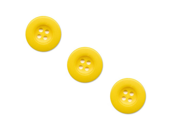 Round Thick Rimmed Buttons - Yellow - 054