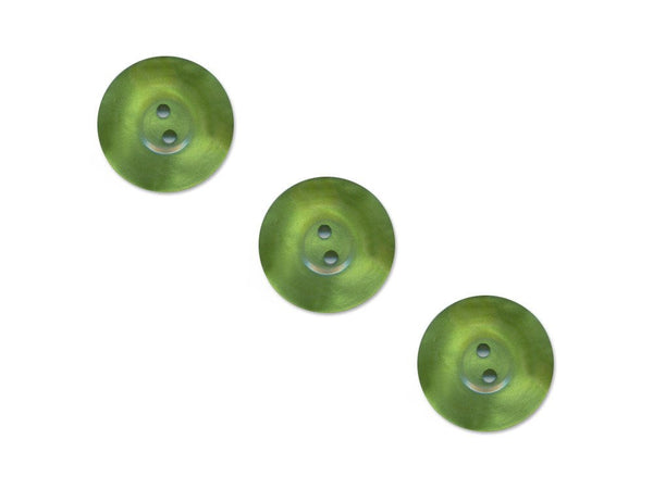Pearlescent Thick Rimmed Round Buttons - Green - 502