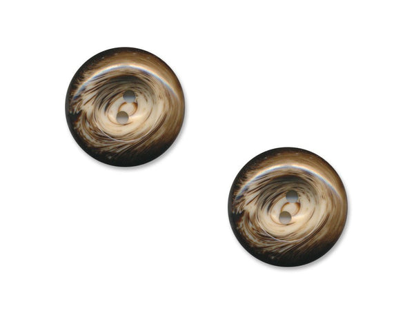 Round Patterned Buttons - Brown - 1109