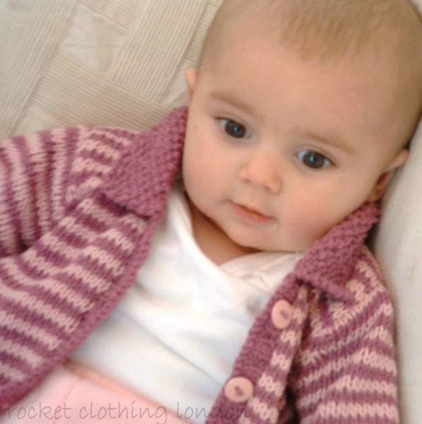Baby Cardigan Mini Stripe by Linda Whaley - Digital Version-Deramores