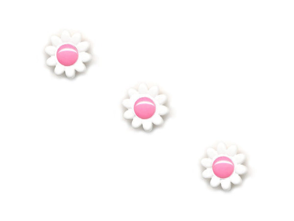 Flower Buttons - White & Pink - 040