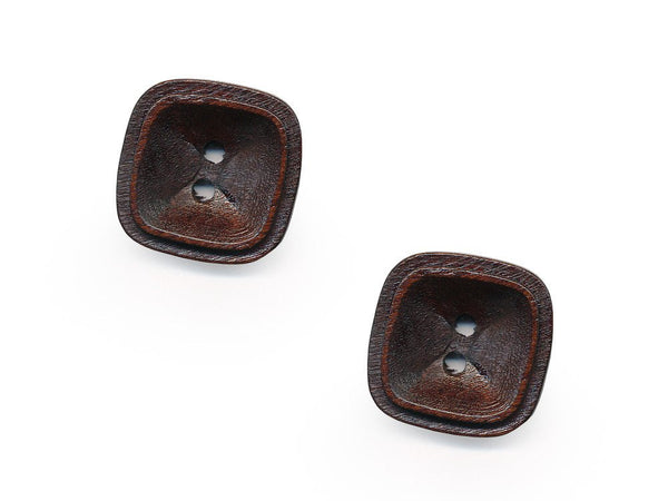 Square Rimmed Wooden Buttons - 1078