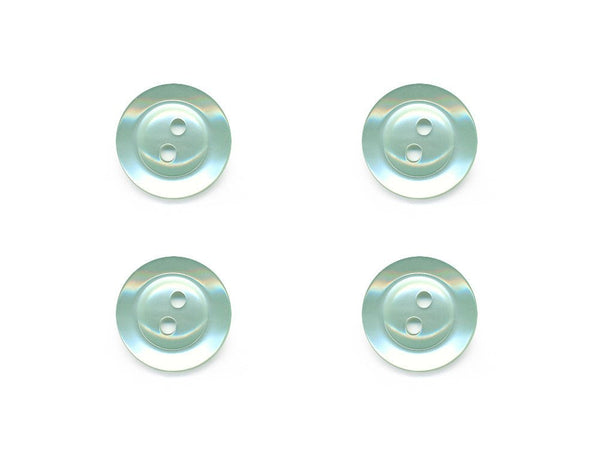 Pearlescent Rimmed Round Buttons - Green - 216