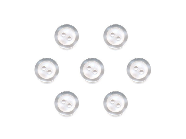 Round  Buttons with Pearlescent Rim - White - 319