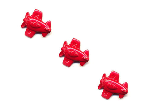 Aeroplane Shaped Buttons - Red - 352-Deramores