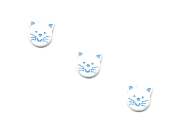Novelty Cat Shaped Button - White - 078