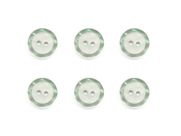 Round Buttons with Pearlescent Rim - Green - 505