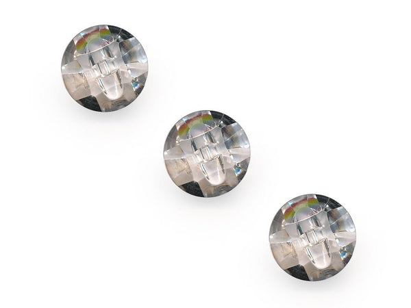 Domed Diamond Effect Buttons - Clear - 021-Deramores