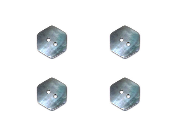 Hexagonal Shaped Shell Buttons - Silver - 981