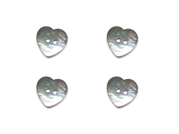 Heart Shaped Shell Buttons - Silver - 991