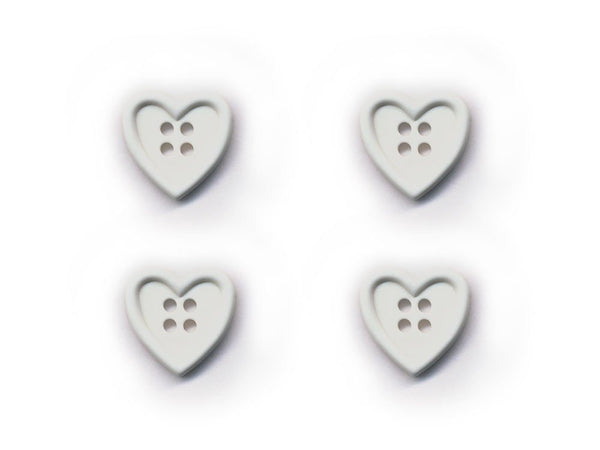 Heart Shaped Buttons - White - 017