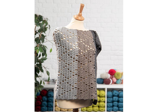 Grey Ice Poncho by HanJan Crochet in Deramores Studio Chunky