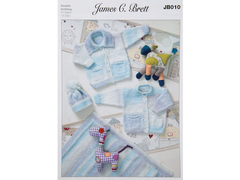 Cardigans, Hat and Blanket in James C. Brett Baby Marble DK (JB010)