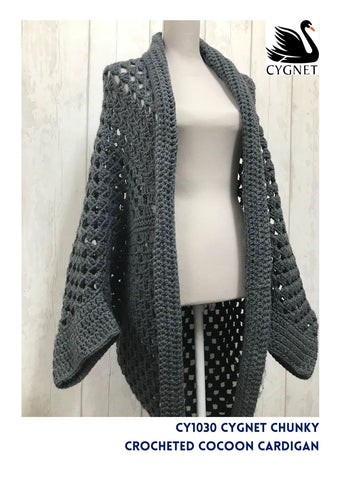 Crocheted Cocoon Cardigan in Cygnet Chunky - Yarn and Pattern
