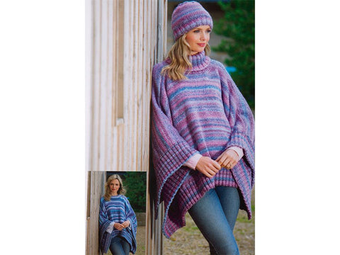Ladies Tabbard and Hat in James C. Brett Marble Chunky (JB555)