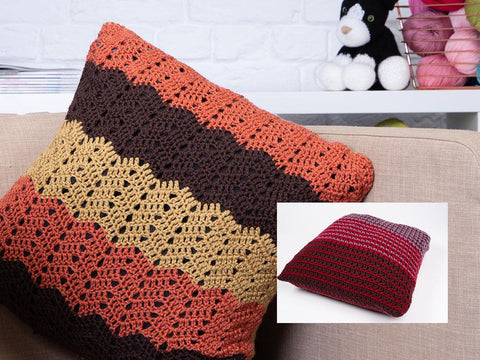 Chevron & Block Colour Cushions by Fran Morgan in Deramores Studio DK