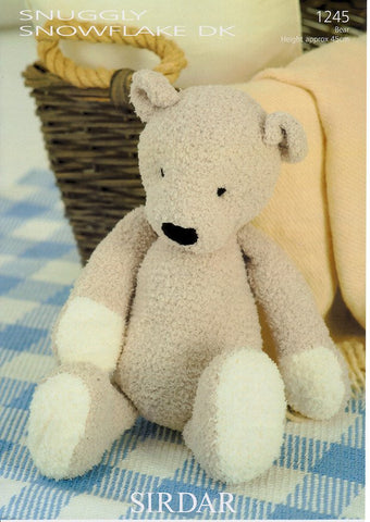 Ted the Bear in Sirdar Snuggly Snowflake DK (1245)