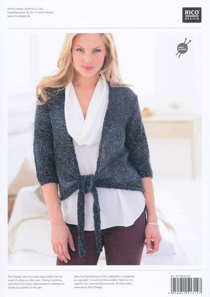 Tie Front Cardigans in Rico Design Creative Reflection DK (139)