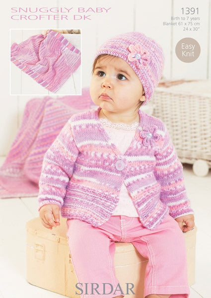 Cardigan, Hat and Blanket in Sirdar Snuggly Baby Crofter DK (1391)