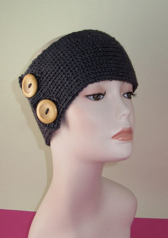 MadMonkeyKnits 2 Button All Rib Headband (807) - Digital Version