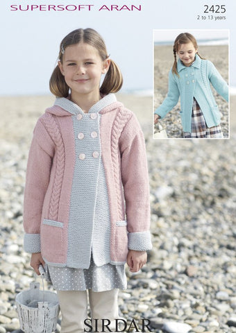Girls Hooded Cabled Coat in Sirdar Supersoft Aran (2425)