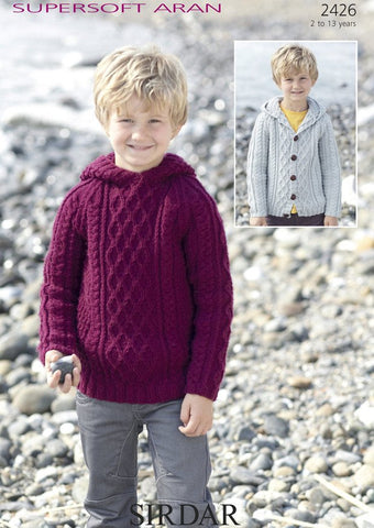 Boys Hooded Cable Sweater and Cardigan in Supersoft Aran (2426)