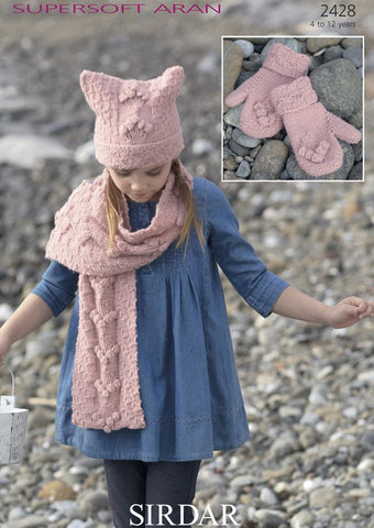 T-Bag Hat, Scarf and Mittens in Sirdar Supersoft Aran (2428)