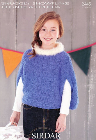 Girls Capes in Sirdar Snuggly Snowflake Chunky and Ophelia (2445)