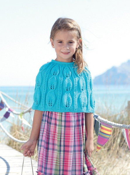 Girls Leaf Detail Cape in Sirdar Supersoft Aran (2456)