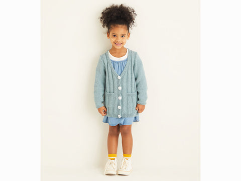 Girls Cardigan in Sirdar Snuggly Replay DK (2533S)