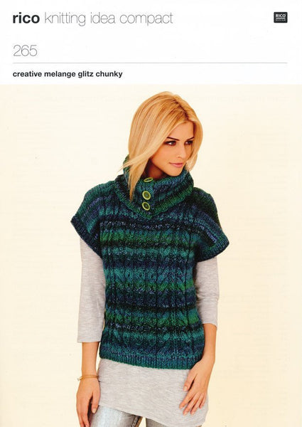 Long Line Cabled Tunic and Sweater with Buttoned Collar in Rico Design Creative Melange Glitz Chunky (265)