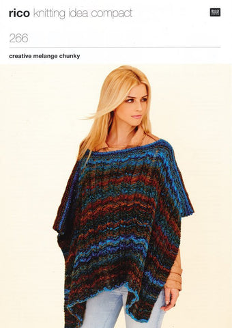 Poncho and Tie Front Jacket in Rico Design Creative Melange Chunky (266)