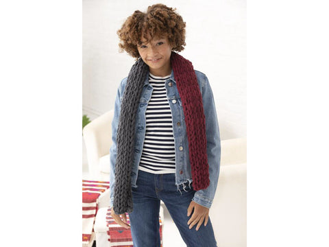 2 Color Scarf in Lion Brand Off the Hook (L80228)