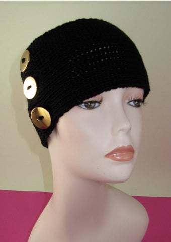 MadMonkeyKnits 3 Button All Rib Headband (808) - Digital Version