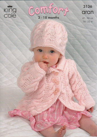 Coat, Dress, Sweater and Hat in King Cole Comfort Aran (3136)
