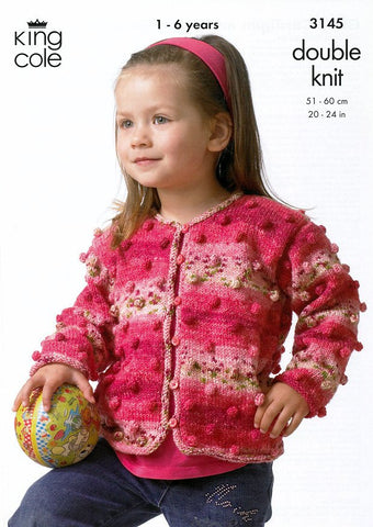 Girl's Cardigan & Boy's Sweater in King Cole Splash DK (3145)