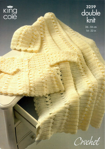 Coat, Shawl and Hat Crocheted in King Cole Comfort Baby DK (3259)