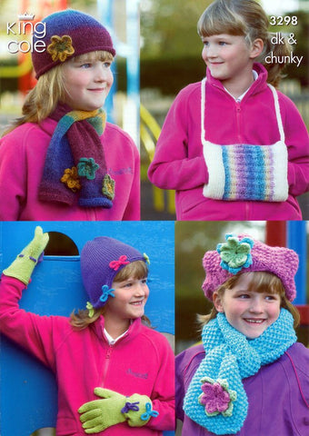 Girls Hats, Scarves, Gloves & Handwarmer in King Cole DK & Chunky (3298)