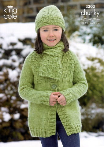 Long and Short Jackets, Hat and Scarf in King Cole Comfort Chunky (3303)