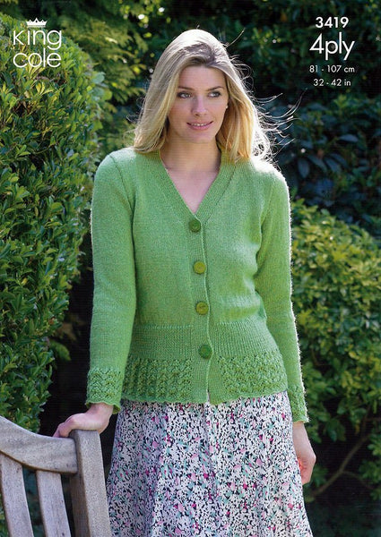 Cardigan & Sweater in King Cole 4 Ply (3419)