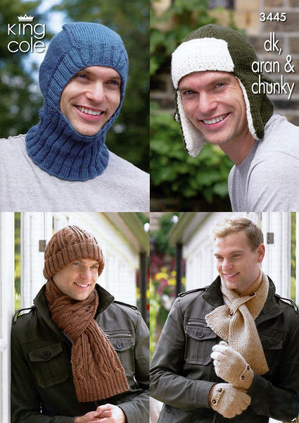 Men's Hats, Balaclava, Scarves & Hats in King Cole DK, Aran and Chunky (3445)