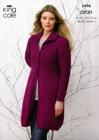 Coat and Hooded Cardigan in King Cole Aran (3496)