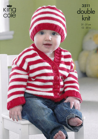 Cardigans and Hat in King Cole Cottonsoft DK (3511)