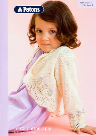 Lace Edged Bolero in Patons 100% Cotton 4 Ply (3551)