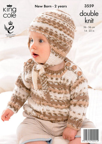 Dress, Sweater, Hat in King Cole DK (3559)