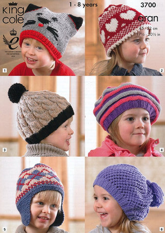 Hats in King Cole Aran (3700)