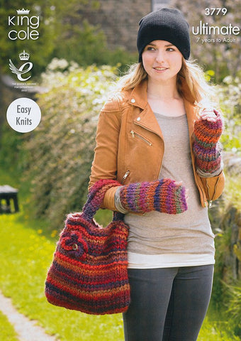 Hat, Bag, Leg and Wristwarmers In King Cole Ultimate (3779)