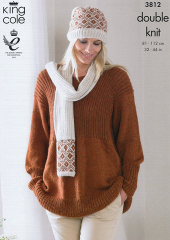Smock, Cardigan, Hat and Scarf In King Cole DK (3812)
