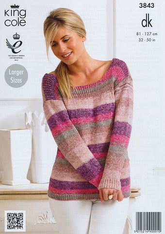 Ladies Sweater in King Cole Shine DK (3843)